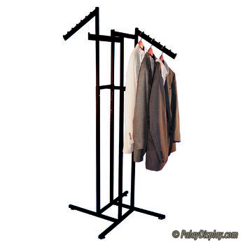 4 Way Rack - Black with Straight Arms and Slant Flag Arms