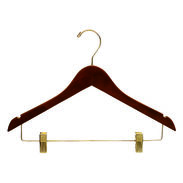 "15"" Walnut Combination Hanger with Clips - Brass Hook"