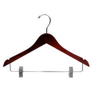 "15"" Walnut Combination Hanger with Clips - Chrome Hook"