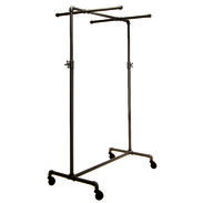 Adjustable Single Rail Pipe Clothing Rack With 2 Cross Bars