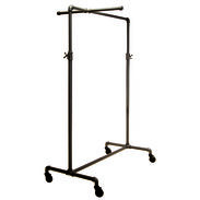 Adjustable Single Rail Pipe Clothing Rack With Cross Bar