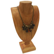 Standup Wood Jewelry Display Bust - Natural