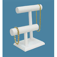 White Leatherette Double T-Bar Jewelry Display
