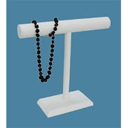 White Leatherette Single T-Bar Jewelry Display